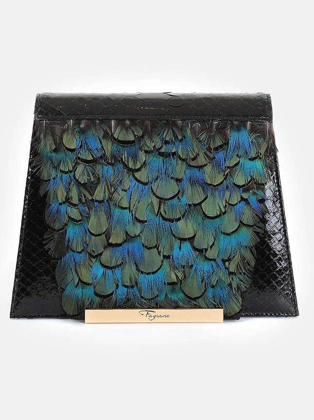 Maison Fagiano HAND PAINTED FEATHERS AND PYTHON