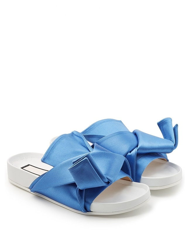 No. 21 Blue Satin Bow Slides