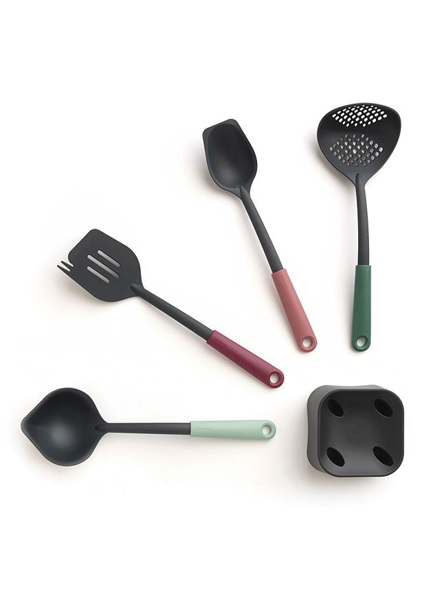 Brabantia Kitchen Ustensiles Set plus Stand, TASTY+